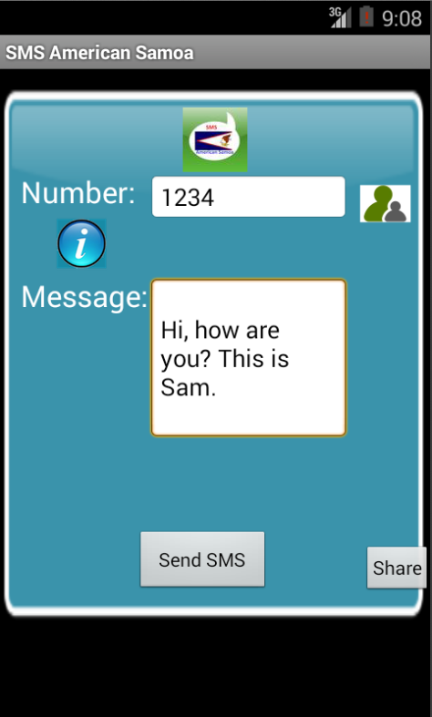 Free SMS American Samoa Android App Screenshot Launch Screen