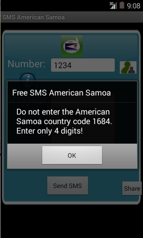 Free SMS American Samoa Android App Screenshot Number Screen