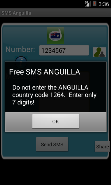Free SMS Anguilla Android App Screenshot Number Screen