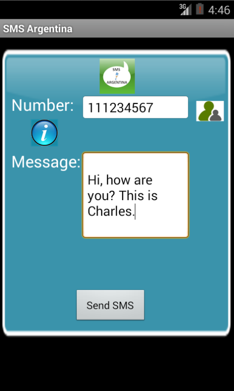 Free SMS Argentina Android App Screenshot Launch Screen