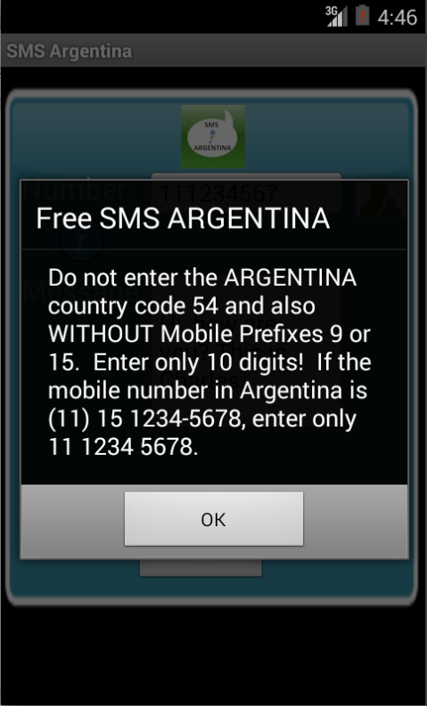 Free SMS Argentina Android App Screenshot Number Screen