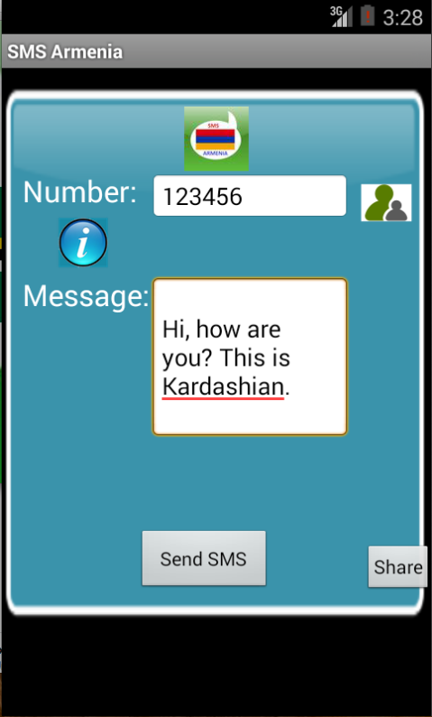 Free SMS Armenia Android App Screenshot Launch Screen