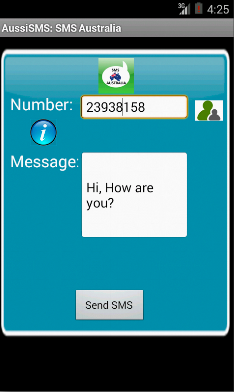Free SMS Australia Android App Screenshot Launch Screen