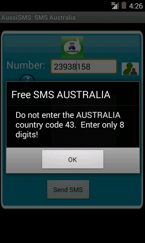 Free SMS Australia Android App Screenshot Number Screen