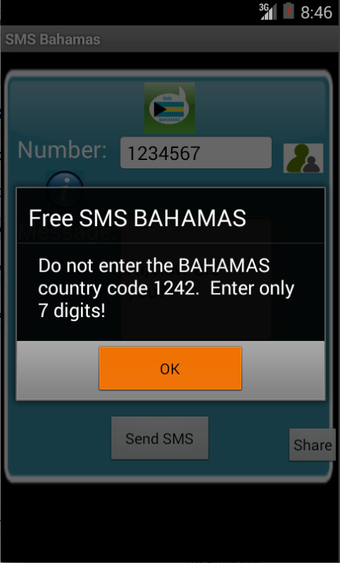 Free SMS Bahamas Android App Screenshot Number Screen