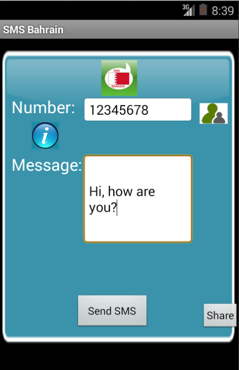Free SMS Bahrain Android App Screenshot Launch Screen