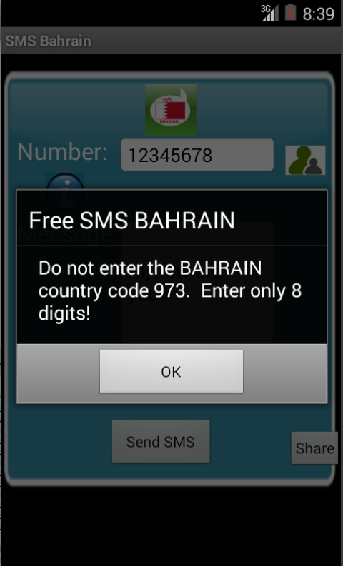 Free SMS Bahrain Android App Screenshot Number Screen