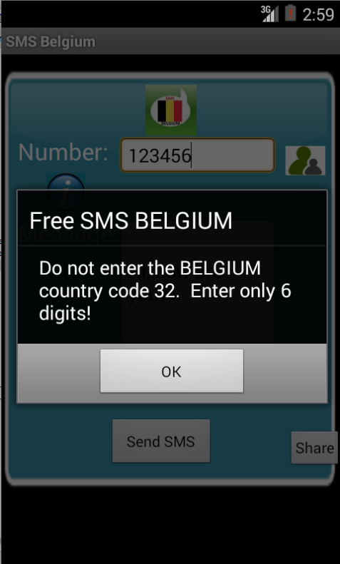Free SMS Belgium Android App Screenshot Number Screen