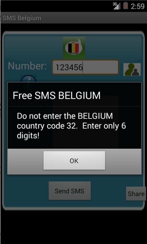 Free SMS Belgium Android App Screenshot Number Screen