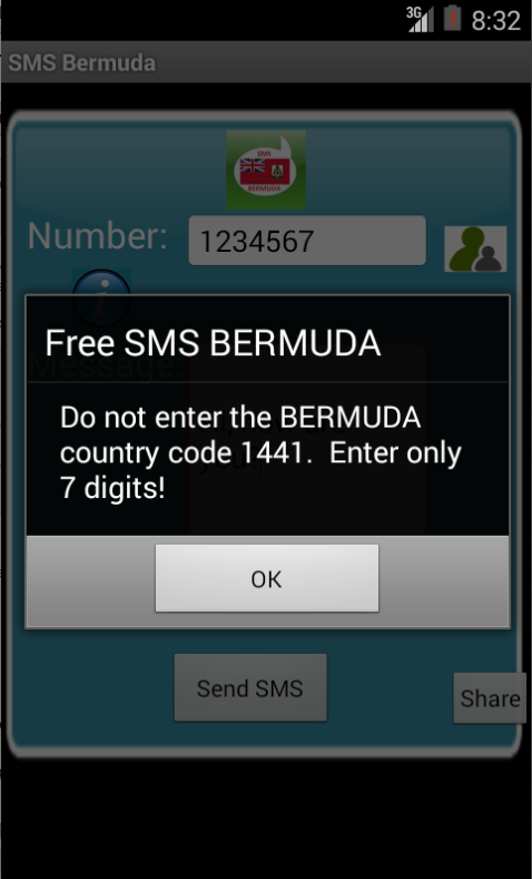 Free SMS Bermuda Android App Screenshot Number Screen