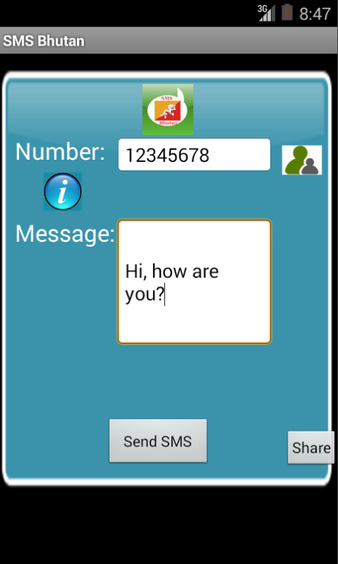 Free SMS Bhutan Android App Screenshot Launch Screen