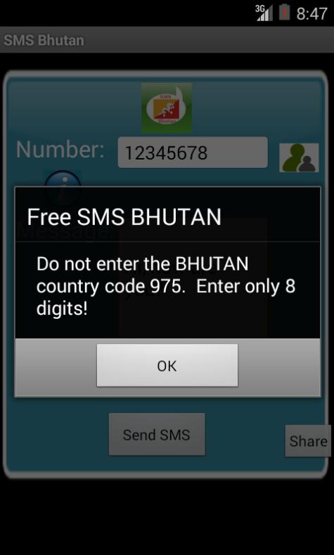 Free SMS Bhutan Android App Screenshot Number Screen