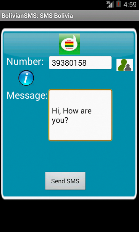 Free SMS Bolivia Android App Screenshot Launch Screen