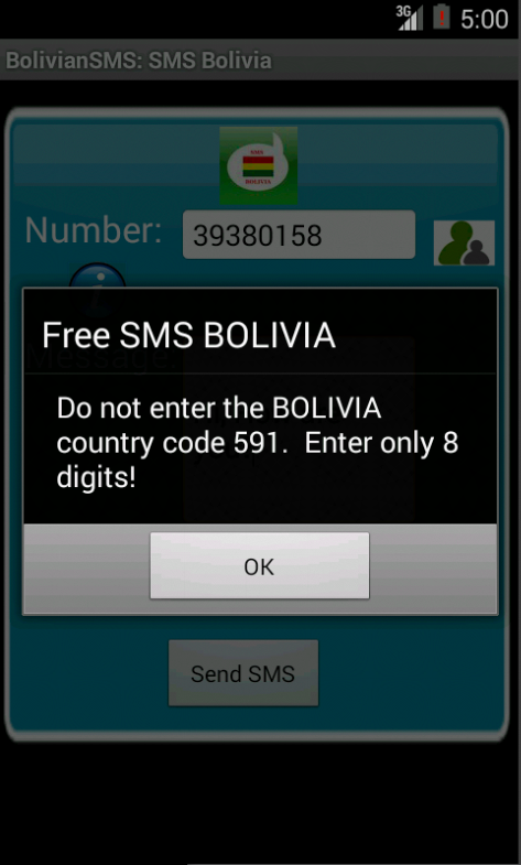 Free SMS Bolivia Android App Screenshot Number Screen