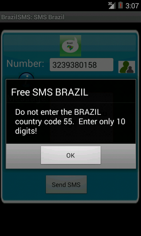 Free SMS Brazil Android App Screenshot Number Screen