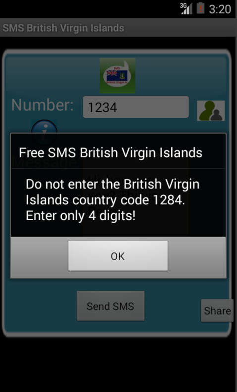 Free SMS British Virgin Islands Android App Screenshot Number Screen