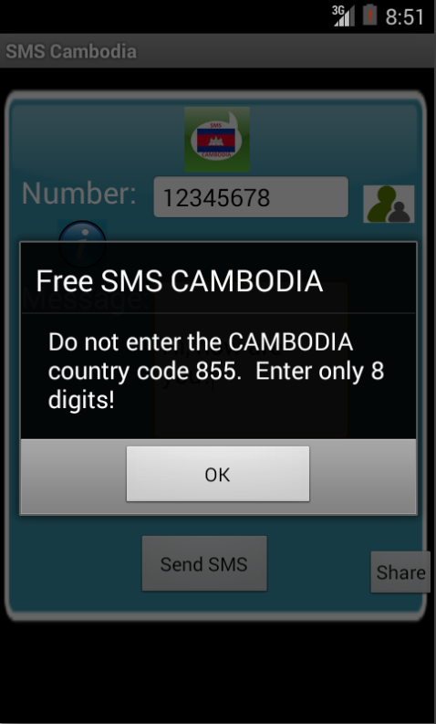 Free SMS Cambodia Android App Screenshot Number Screen