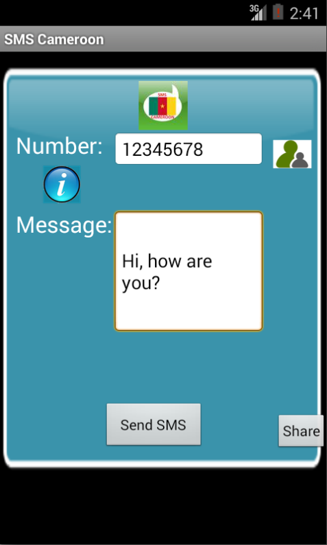 Free SMS Cameroon Android App Screenshot Launch Screen