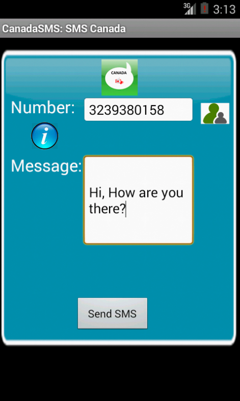 Free SMS Canada Android App Screenshot Launch Screen