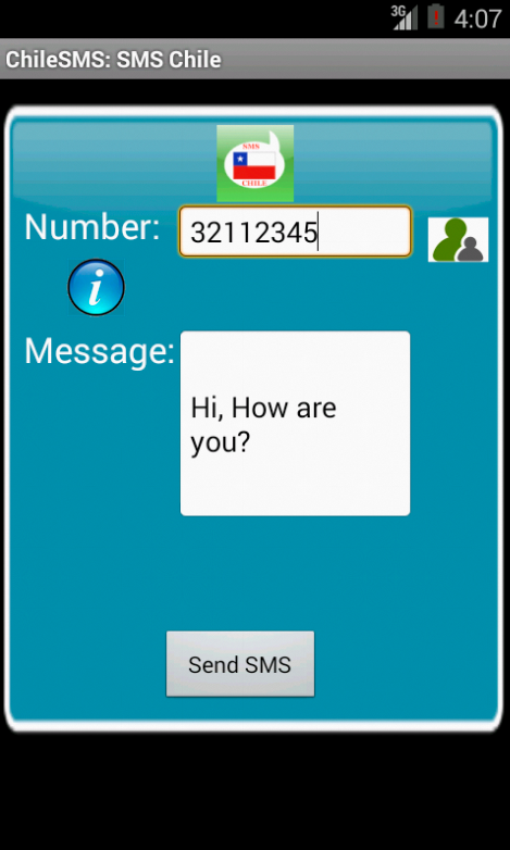 Free SMS Chile Android App Screenshot Launch Screen