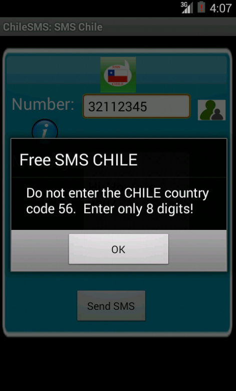 Free SMS Chile Android App Screenshot Number Screen