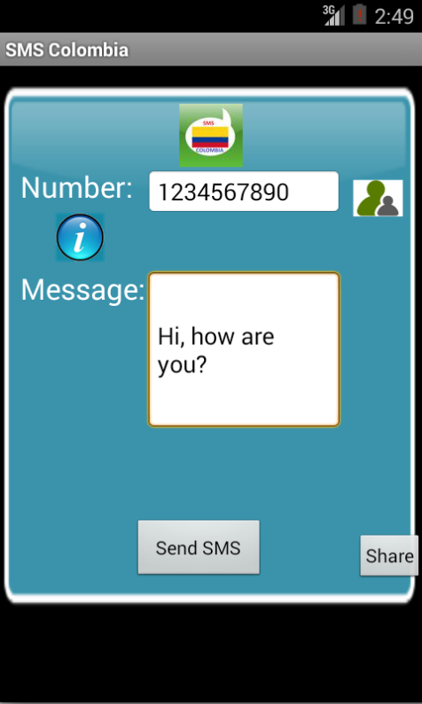 Free SMS Colombia Android App Screenshot Launch Screen