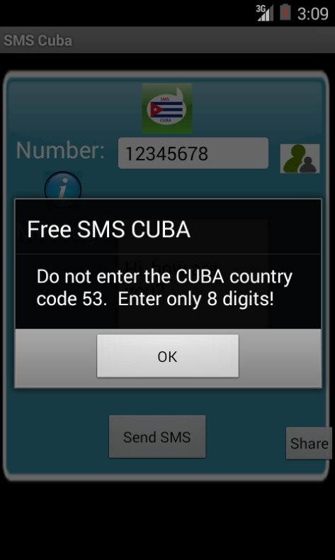 Free SMS Cuba Android App Screenshot Number Screen