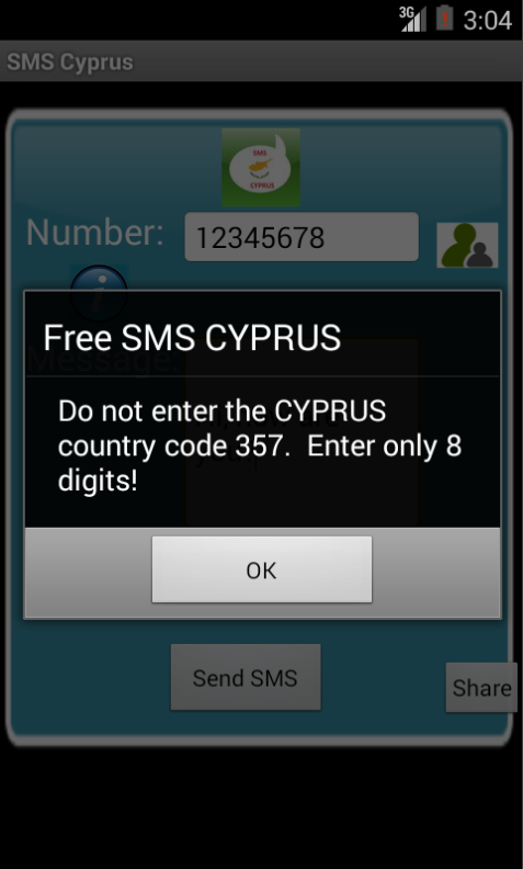 Free SMS Cyprus Android App Screenshot Number Screen