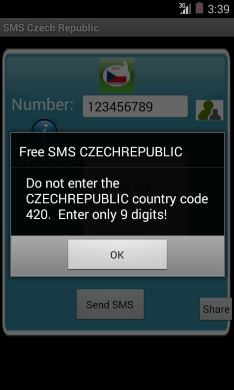 Free SMS Czech Republic Android App Screenshot Number Screen