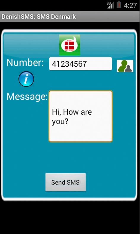Free SMS Denmark Android App Screenshot Launch Screen