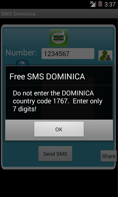 Free SMS Dominica Android App Screenshot Number Screen