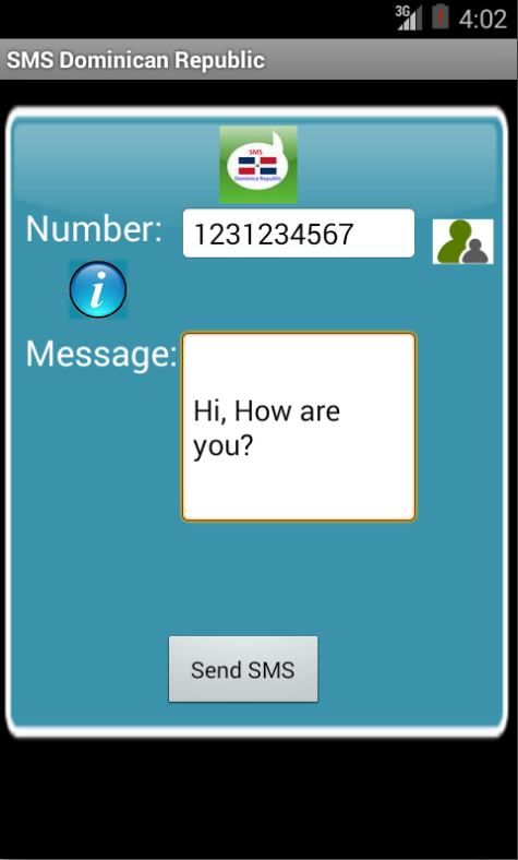 Free SMS Dominican Republic Android App Screenshot Launch Screen