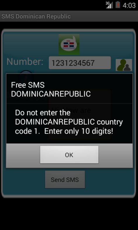 Free SMS Dominican Republic Android App Screenshot Number Screen