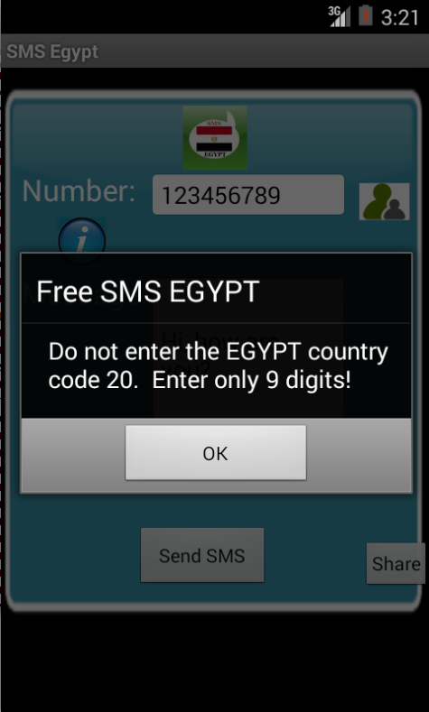 Free SMS Egypt Android App Screenshot Number Screen