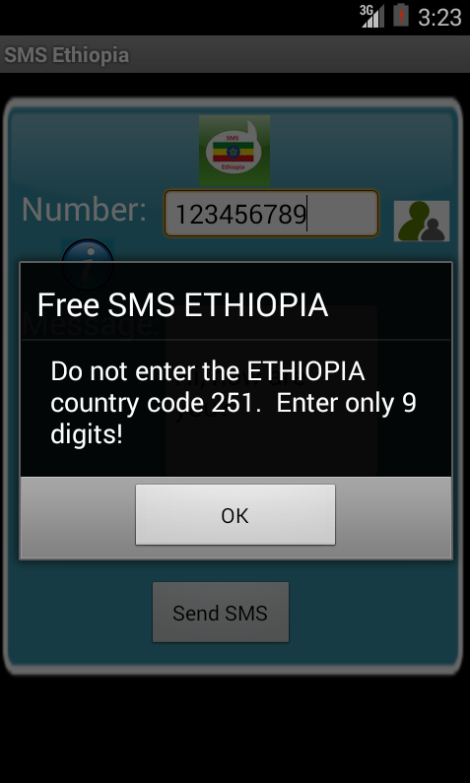 Free SMS Ethiopia Android App Screenshot Number Screen