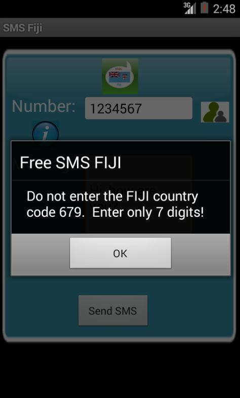 Free SMS Fiji Android App Screenshot Number Screen