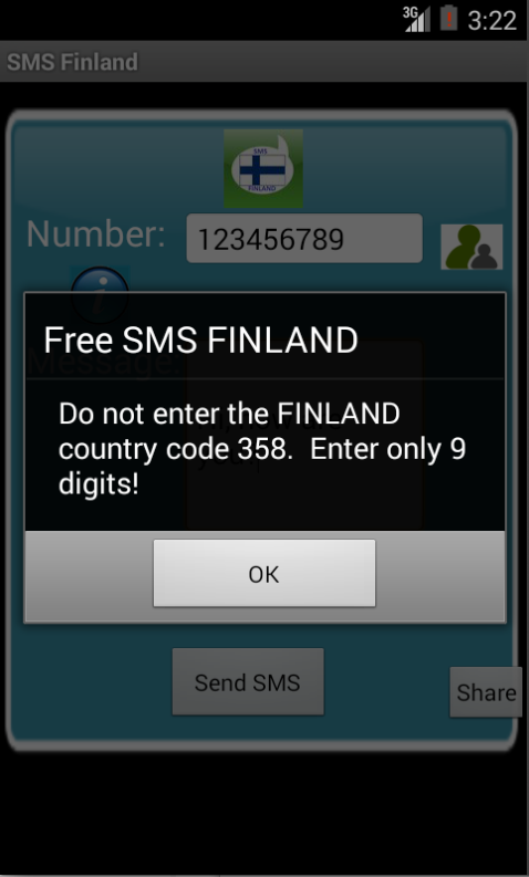 Free SMS Finland Android App Screenshot Number Screen