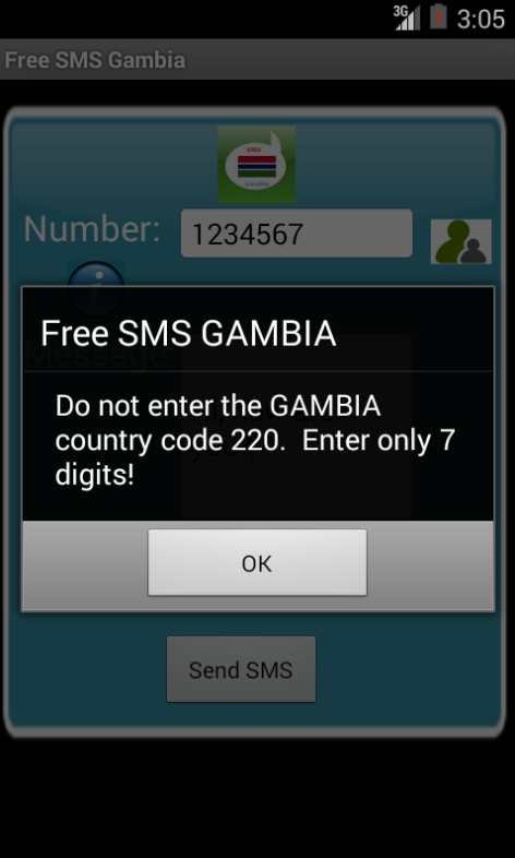 Free SMS Gambia Android App Screenshot Number Screen