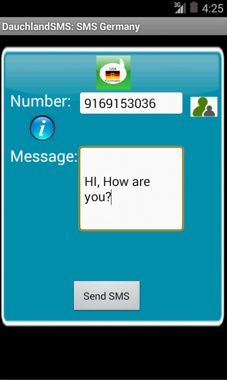 Free SMS Germany Android App Screenshot Launch Screen