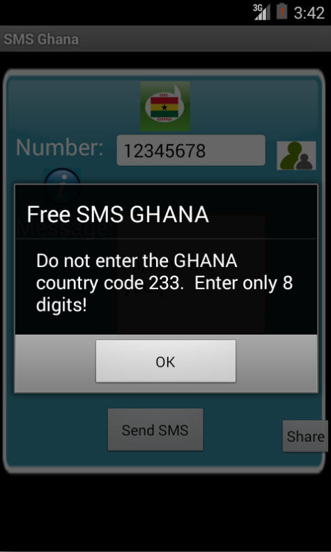 Free SMS Ghana Android App Screenshot Number Screen