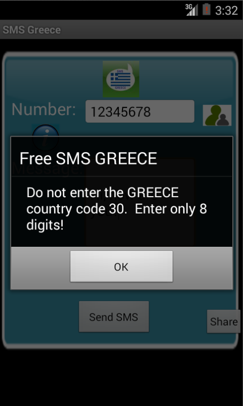 Free SMS Greece Android App Screenshot Number Screen
