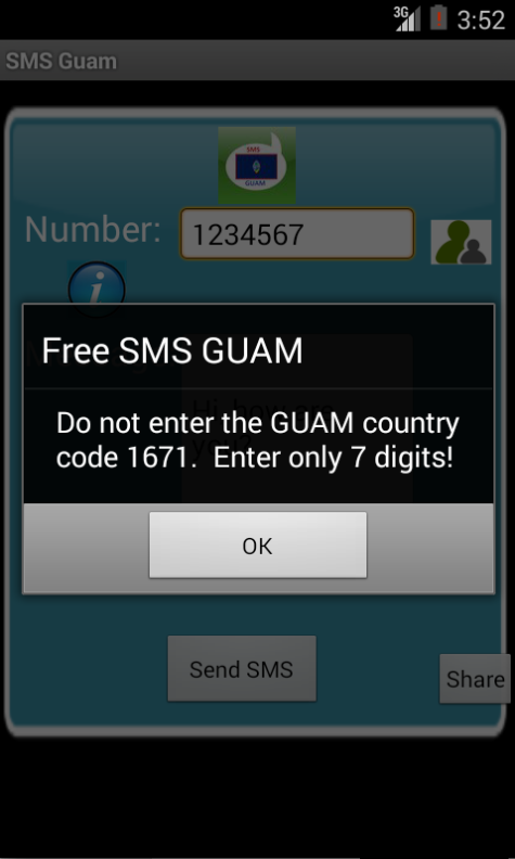 Free SMS Guam Android App Screenshot Number Screen
