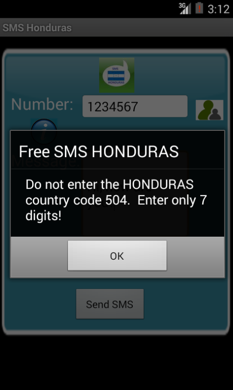 Free SMS Honduras Android App Screenshot Number Screen