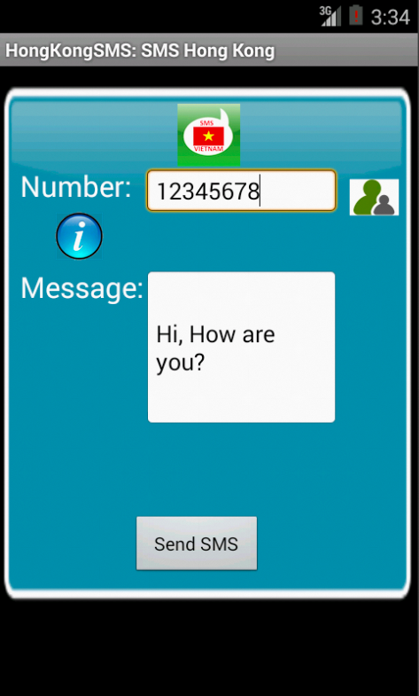 Free SMS Hong Kong Android App Screenshot Launch Screen