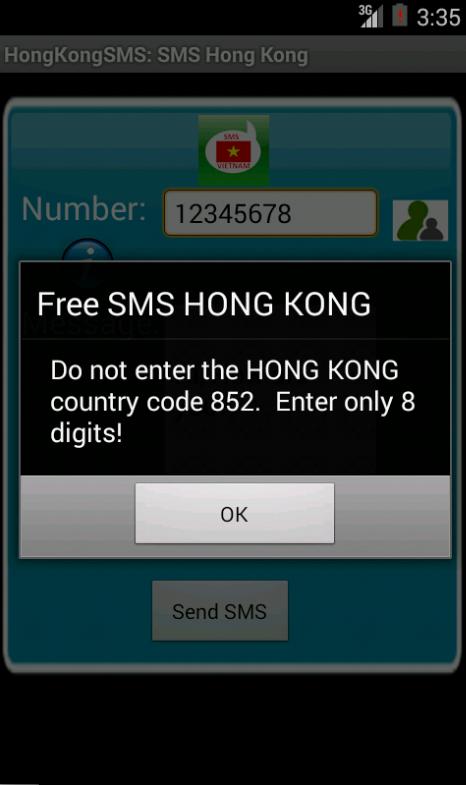 Free SMS Hong Kong Android App Screenshot Number Screen