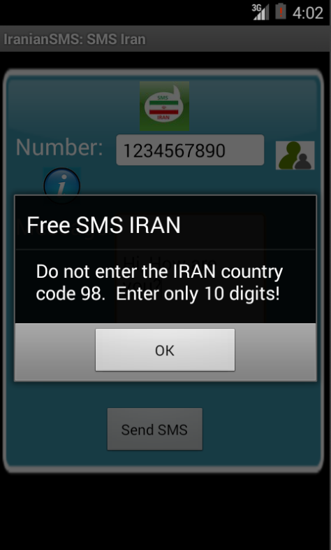 Free SMS Iran Android App Screenshot Number Screen