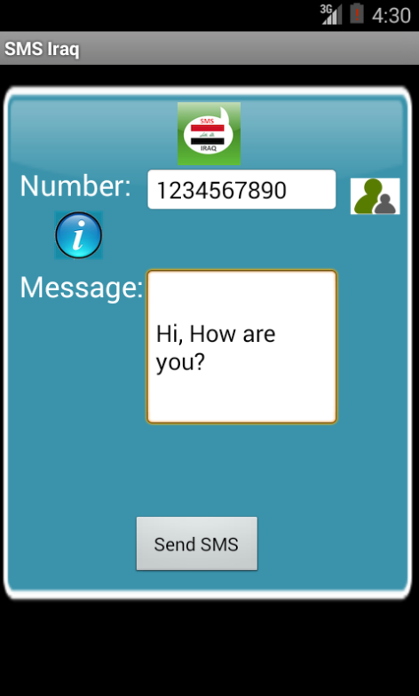 Free SMS Iraq Android App Screenshot Launch Screen