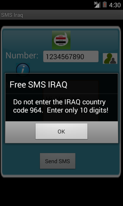 Free SMS Iraq Android App Screenshot Number Screen