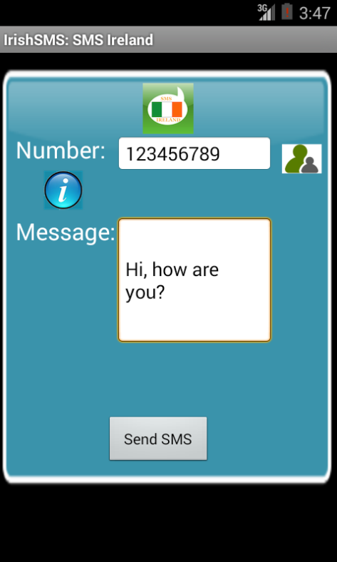 Free SMS Ireland Android App Screenshot Launch Screen