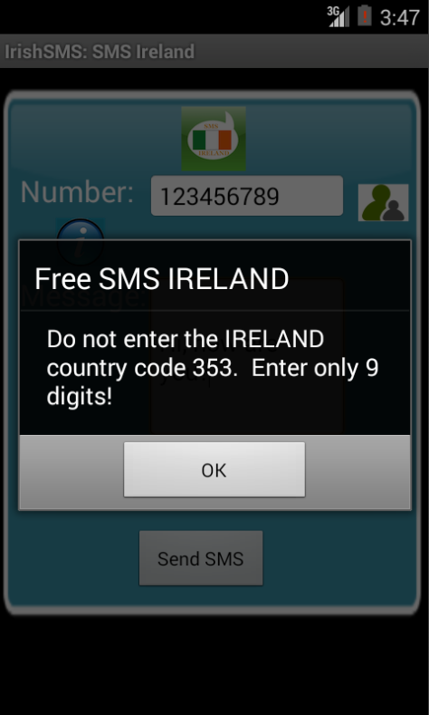 Free SMS Ireland Android App Screenshot Number Screen